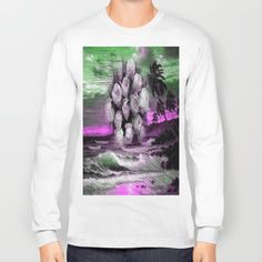 Sea and roses in purple Long Sleeve T-shirt