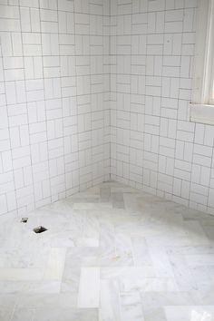 DIY Herringbone Marble Tile Floors : a beautiful mess