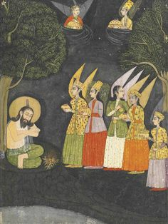 Angels ministering to the saint, Sultan Ibrahim Ibn Adham of Balkh.