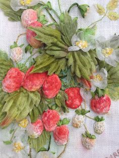 Tasty strawberries, looking good enough to eat – on a hand painted linen background, padded fabric strawberries peek out from behind textured leaves