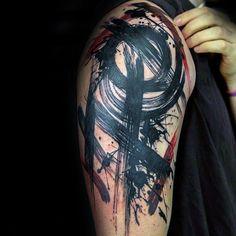 Zusammenfassung Oberarm Schwarz Red Ink Brush Stroke Tattoos für Männer