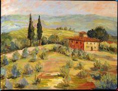 tuscan landscape tile mural