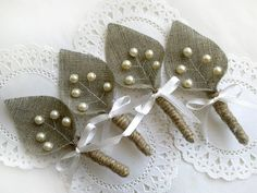 Set of 6- Burlap Groom's Boutonniere for Wedding Rustic Bout with Ivory pearls. $42.00, via Etsy.