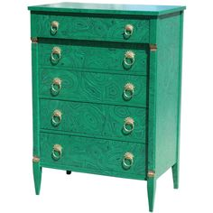 1940s Faux Malachite Chest of Drawers | From a unique collection of antique and modern commodes and chests of drawers at http://www.1stdibs.com/furniture/storage-case-pieces/commodes-chests-of-drawers/