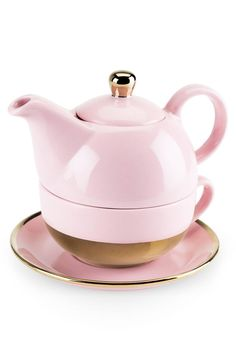 Gleaming gold accents enhance the everyday sophistication of a dainty pink tea set featuring a pot, cup and saucer: all the essentials for making and enjoying a perfect brew.