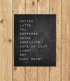 Coffee Kitchen Print, Latte Poster, Espresso Printables, Chalkboard Prints, Printable Art Print, Instant Download