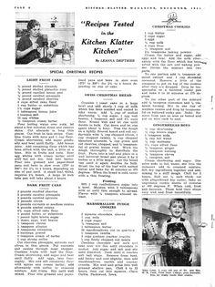 Kitchen Klatter Magazine, December 1941 - Light Fruit Cake, Dark Fruit Cake, Swiss Christmas Bread, Marshmallow Fudge Cookies, Christmas Cookies, Gingerbread Boys