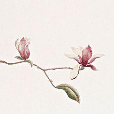 #야생화자수 #목련 #자목련 #꿈소 #꿈을짓는바느질공작소 #embroidery #magnolia #magnolialiliflora