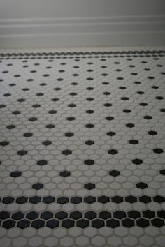Black and white hex tiles with border. Lois I think this is what I am doing!                                                                                                                                                                                 More