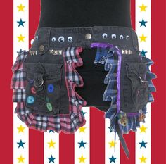 Funky Punk Monster Upcycled Pocket Belt by FeedTheDogCreations