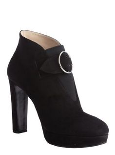 black suede bucklestrap platform ankle booties
