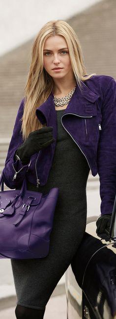 Ralph Lauren: black skinny dress with purple bag and short suede jacket. Just gorgeus!