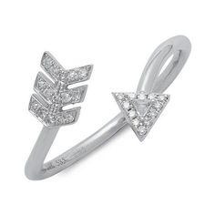 EF Collection 14K White Gold Arrow Statement Ring ($357) ❤ liked on Polyvore featuring jewelry, rings, 14 karat gold ring, ef collection, fine jewelry, white gold rings and statement rings