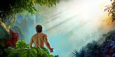 The sun's rays shine brightly on Adam in the garden of Eden
