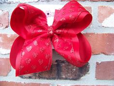 Jumbo X Large Red Sheer Glitter Hearts Ribbon by karenscreations1, $10.98