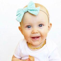 Aqua Baby Headband, Polka Dot Hair Bow for Babies, Princess Bowtique