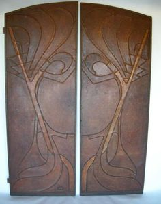 Pair of French Art Nouveau Antique Leather Doors French Art, French Vintage, Entryway Cabinet, Art Nouveau Furniture, Art Deco, Leather Wall, Door Gate, Garden Doors, Modern Door