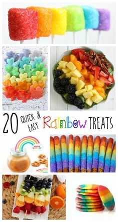 I love this collection of 20 adorable and easy-to-make rainbow treats! These are perfect for St. Patrick's Day or a rainbow birthday party! patricks day party ideas food 20 Quick and Easy Rainbow Treats Rainbow Unicorn Party, Rainbow Birthday Party, Fruit Birthday, 4th Birthday, Birthday Month, Rainbow Treats, Rainbow Food, Rainbow Baby, Rainbow Cake Pops