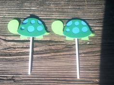 Turtle Baby Shower Cupcake Toppers/Turtle Birthday Cupcake Toppers