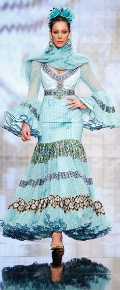 Carmen Vega, Simof 2014 Pierre Turquoise, Fiesta Colors, Spanish Fashion, Dance Pictures, Hippie Chic, Tiffany Blue, Love And Light, Cute Dresses, Spanish Eyes