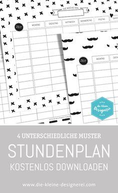 Free Download: Stundenplan für coole Schulkinder und Eltern mit Liebe zu reduzierten, skandinavischen Schwarz-Weiß Mustern. www.die-kleine-designerei.com