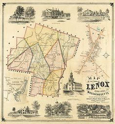 Lenox Mass Antique Map 1854 Framed — MUSEUM OUTLETS