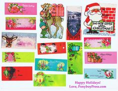 scan of vintage Christmas tags. Happy Holidays to you! From Ponyboy Press Vintage Christmas Wrapping Paper, Christmas Gift Wrapping, Vintage Holiday, Christmas Tag, Christmas Decor, Christmas Ideas, Xmas, Free Printable Christmas Gift Tags, Holiday Gift Tags
