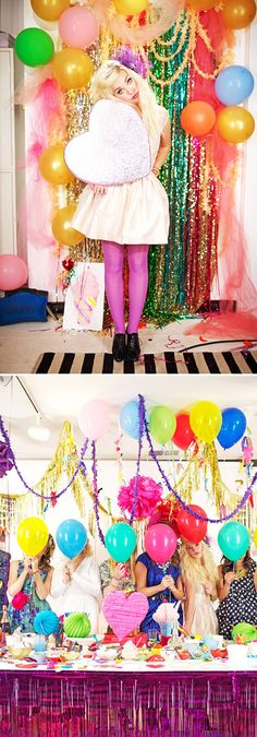 Party backdrop for your photo booth - glittering foil streamers, bright coloured balloons and tulle