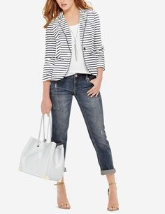 The Limited - Striped Knit Blazer Striped Blazer Outfit, Blazer Outfits Casual, Knit Blazer, Cool Outfits, Casual Wear, Summer Outfits, Diva Fashion, Fashion Outfits, Jackets For Women