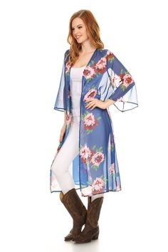 1580c9ac43 Women s Apparel · A floral printed long length chiffon cardigan with open  front will go with almost anything
