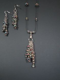 Multicolored Necklace and Earrings by StylishlyHandmade on Etsy, $40.00