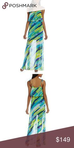 """Coming 2/23 Calvin Klein Maxi Dress Calvin Klein, this maxi dress features:  printed chiffon fabric  scoop neckline  sleeveless silhouette  popover bodice  pullover construction  approx. 50"""" length  polyester; polyester lining Calvin Klein Dresses Maxi"""
