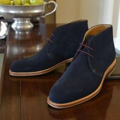 Handmade men's navy blue chukka boot, men genuine suede boots, suede boot mens
