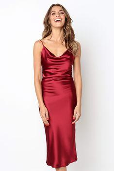 Silk Satin Dress, Silky Dress, Satin Dresses, Red Satin Dress Short, Silk Slip, Satin Skirt, Wine Red Dress, Red Midi Dress, Prom Dress