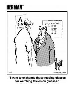 Great cartoon for eyewear, glasses, reading glasses, eyesight, optical store Optometry Humor, Optometry Office, Eye Jokes, Vitreous Humour, Eye Facts, Cartoon Eyes, Optical Shop, Optician, Fun At Work