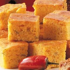 Texas Corn Bread: Cheddar cheese, cream-style corn and green chilies dress up ordinary corn bread. Generous slices taste great with a bowl of chili.