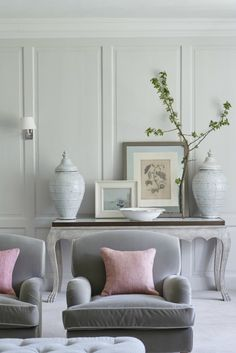 Manor house drawing room with bespoke armchairs, decorative vases and panelled walls Drawing Room Interior, Upholstered Furniture, Room Inspiration, Colour Inspiration, Decoration, Home And Living, Living Room Decor, Dining Room, House Design