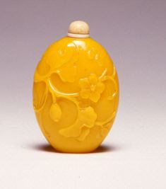 An imperial yellow glass snuff bottle, Qianlong, (1736-1795). | Burghley Collections