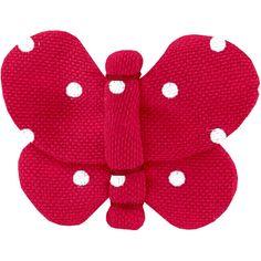 Barrette+petit+papillon+pois+rouge