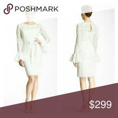 """Boho Ivory Lace Bell Sleeve Shift Wedding Dress 12 NWT Gorgeous Woman's 12 Shift Dress in Ivory Would be an incredible boho hippie wedding dress with the feminine lace, 70's vibe bell sleeves,  and flattering structured slip Details - Boatneck - Long fitted sleeves with flounce cuffs  - Hidden back zip with hook-and-eye clasp - Keyhole back with button closure - Self-tie waist - Lace construction - Lined - Approx. 40"""" length - Imported Shell: 75% cotton, 25% nylon Lining A: 94% polyester, 6%…"""