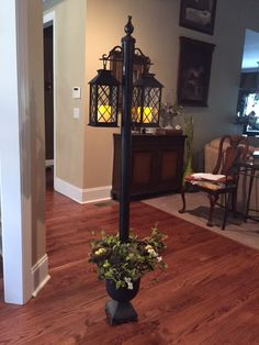 DIY lamp post - made from a cardboard fabric tube (use PVC pipe for outdoor use), 2 small decorative shelf brackets, 1 finial, small pea… Decorative Shelf Brackets, Above Kitchen Cabinets, Pvc Pipe Projects, Pvc Pipe Crafts, Front Door Decor, Solar Lights, Porch Decorating, Outdoor Lighting, Lighting Ideas