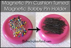 Bobby Pin Storage - Magnetic Pin Cushion...this is finally what I need to get...will make doing all my girls hair so much easier!