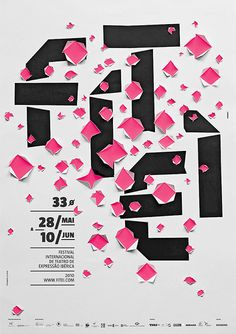 "#Poster for ""Festival Internacional de Teatro des Expressão Ibérica"", 2010 - A combination of bold typo and well distributed holes in the surface, make this example a real eye-catcher."