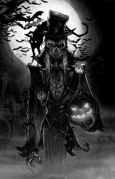 Halloween 2008 by x-catman Edited by metalheadx-x Halloween Kunst, Halloween Artwork, Halloween Drawings, Gothic Halloween, Halloween Wallpaper, Halloween Pictures, Creepy Halloween, Gothic Fantasy Art, Fantasy Kunst