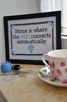 Funny cross stitch, wifi, teacup