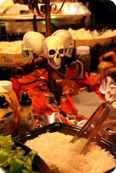 Wedding Buffet Skull Candelabra. (October Farm Wedding)