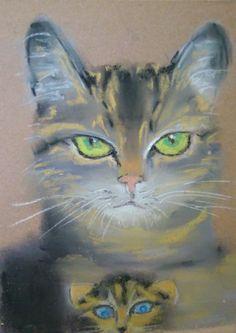Cat Paintings, Mama Cat, Artist Signatures, Paper Frames, Contemporary Artists, Impressionism, Original Art, Kitty, Art Prints