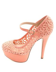 Crochet Lace Mary Jane Platform Pumps, sizes 7.5 to 10, $21.24 (other colors available) at Charlotte Russe.