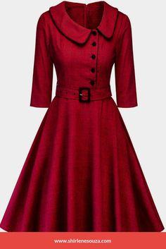 Fall Plaid Belted Vintage Dress Women Peter Pan Collar Sleeves A Line Dress Winter Dresses Ladies Clothes Vestido Red XL Vintage Red Dress, Robes Vintage, Retro Dress, Vintage 1950s Dresses, Tight Dresses, Plus Size Dresses, Casual Dresses, Elegant Dresses, Plus Size Vintage