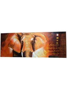Cuadro apaisado moderno. Imagen de elefante. Fabricado en lienzo con madera en tonos marrones y naranja, dorado.  Decoración para las paredes, dale un toque especial a tu salón, pasillo, restaurantes... Medidas 161 x 60 cm.  Envío gratis en 24h.